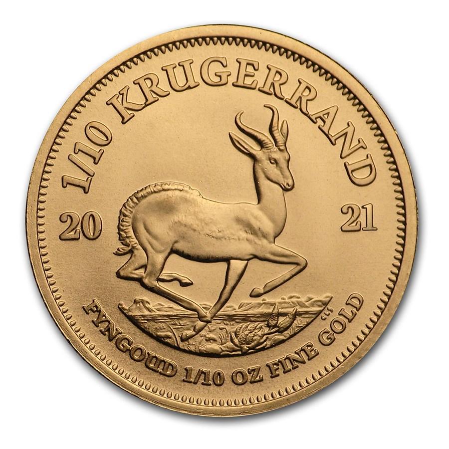 2021 South Africa 1/10 oz Gold Krugerrand BU