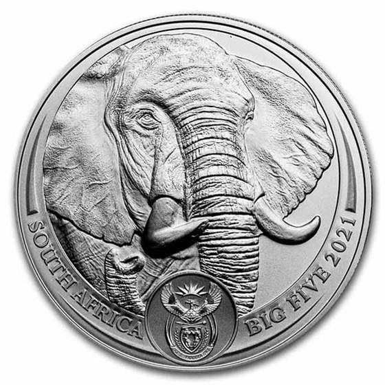 2021 South Africa 1 oz Silver Big Five Elephant BU