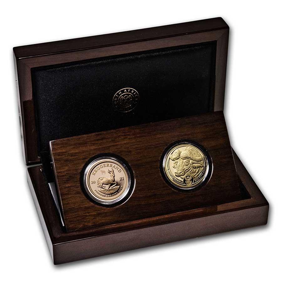 2021 South Africa 2-Coin Gold Krugerrand & Buffalo Proof Set