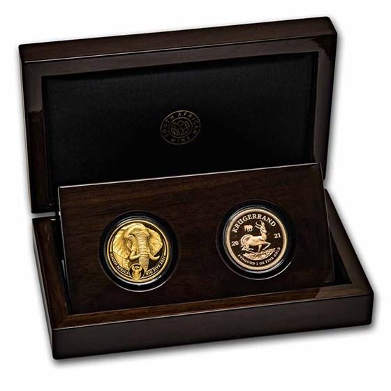 2021 South Africa 2-Coin Gold Krugerrand & Elephant Proof Set