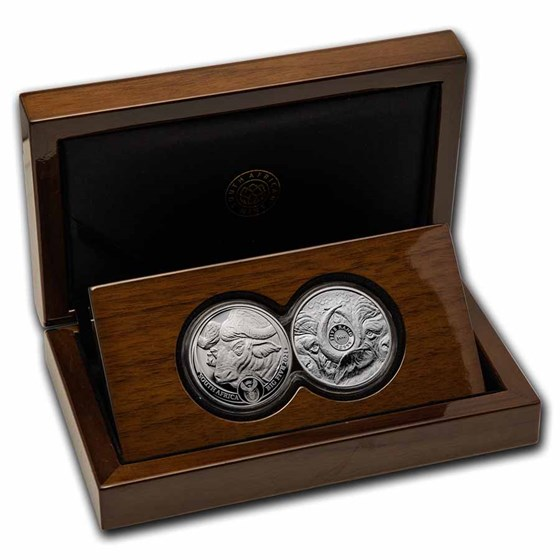2021 South Africa 2-Coin Silver Big Five Buffalo Proof Set