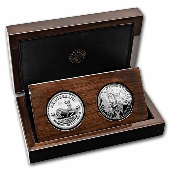2021 South Africa 2-Coin Silver Krugerrand & Elephant Proof Set