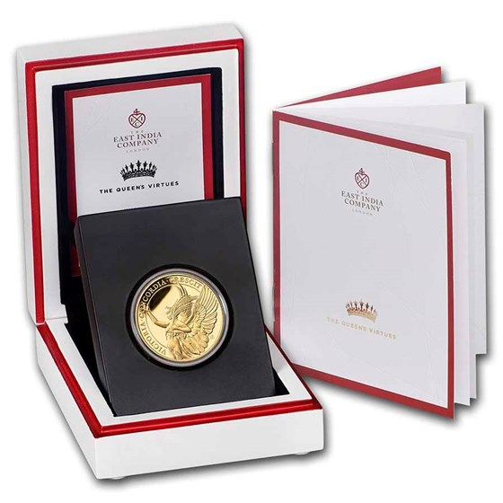 2021 St. Helena 1 oz Gold £100 Queen's Virtues: Victory Proof