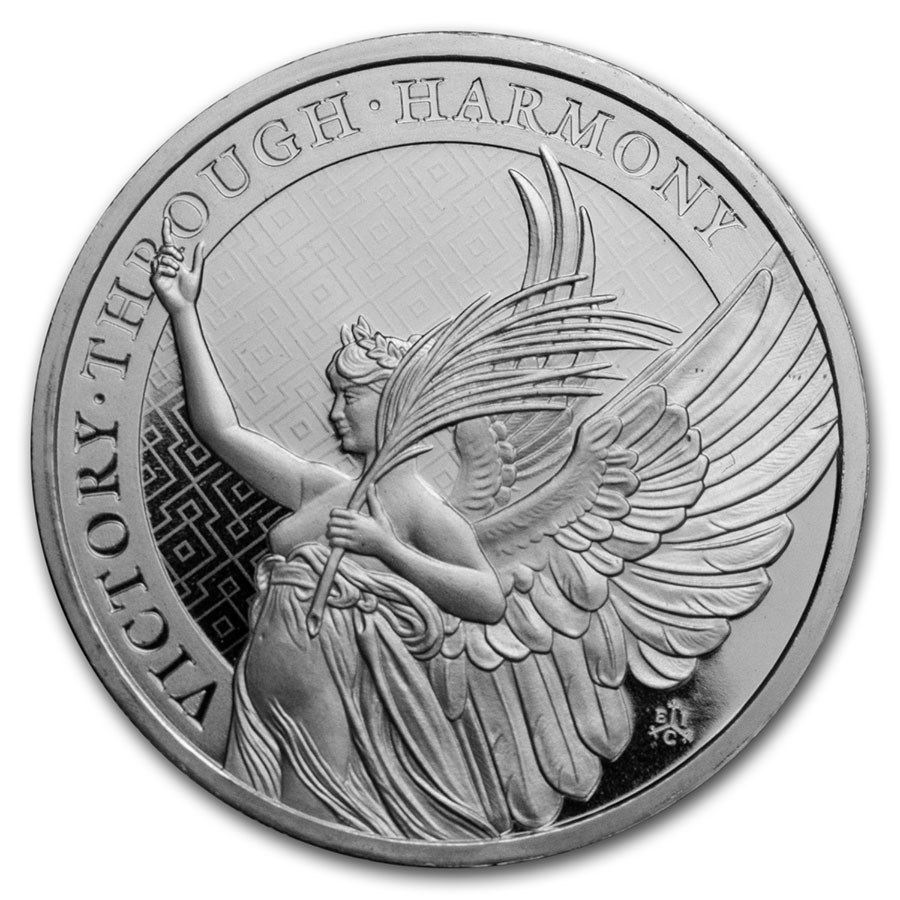 2021 St. Helena 1 oz Silver £1 Queen's Virtues Victory BU