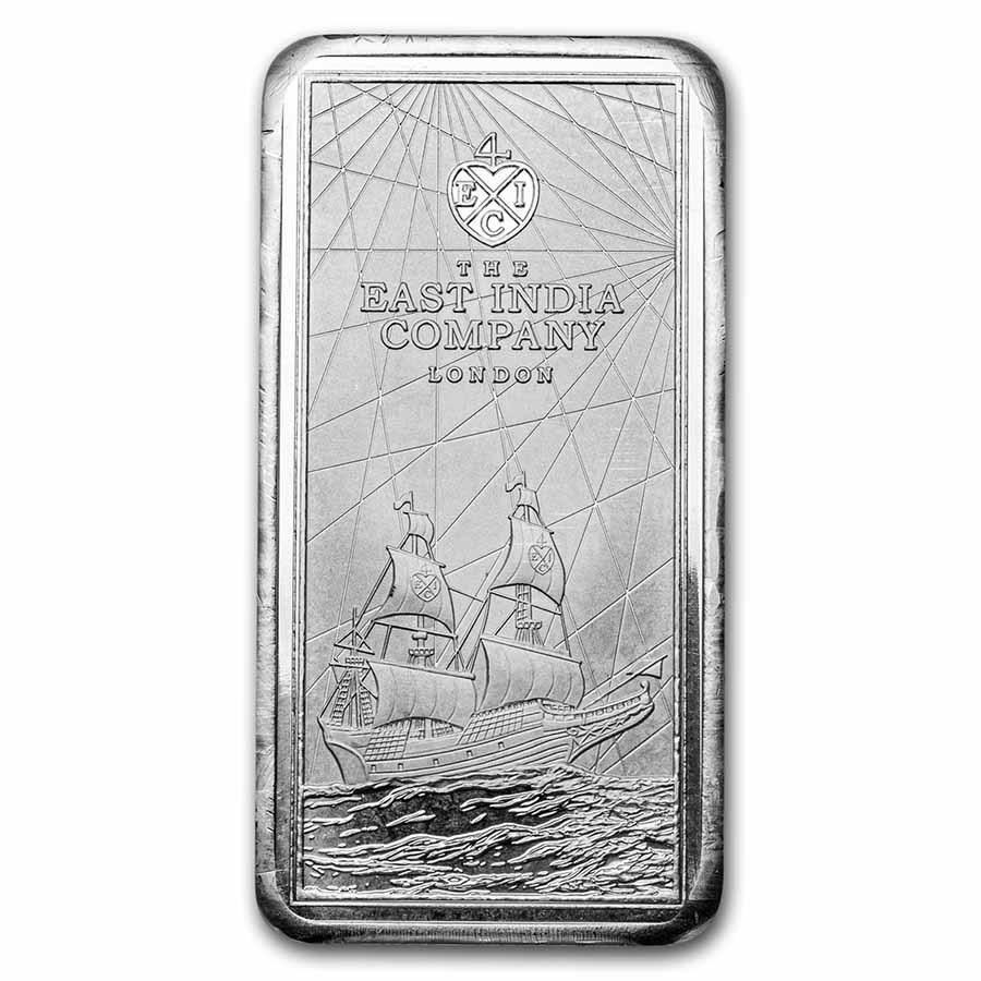 2021 St. Helena 10 oz Silver East India Co Ship Rectangular Coin