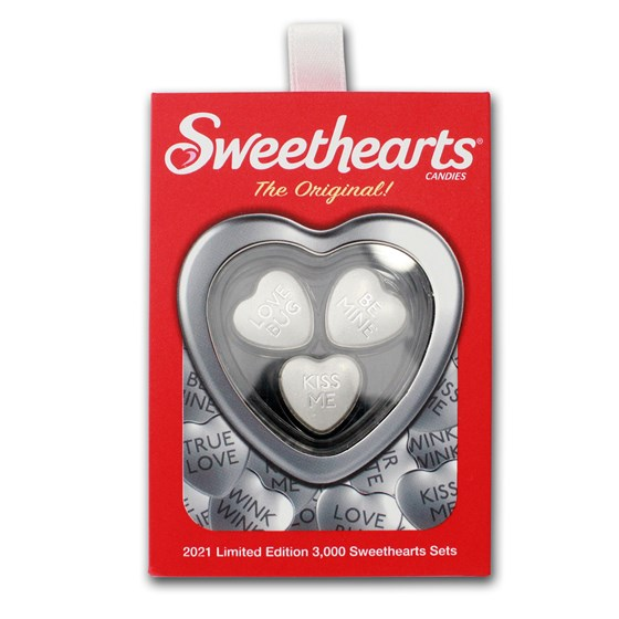 2021 Sweethearts® Gift Set w/Case & 3x 10g Silver Hearts