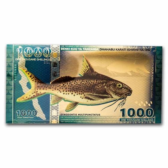 2021 Tanzania 1/1000 oz Gold - Catfish Foil Note (w/CoA & Sleeve)
