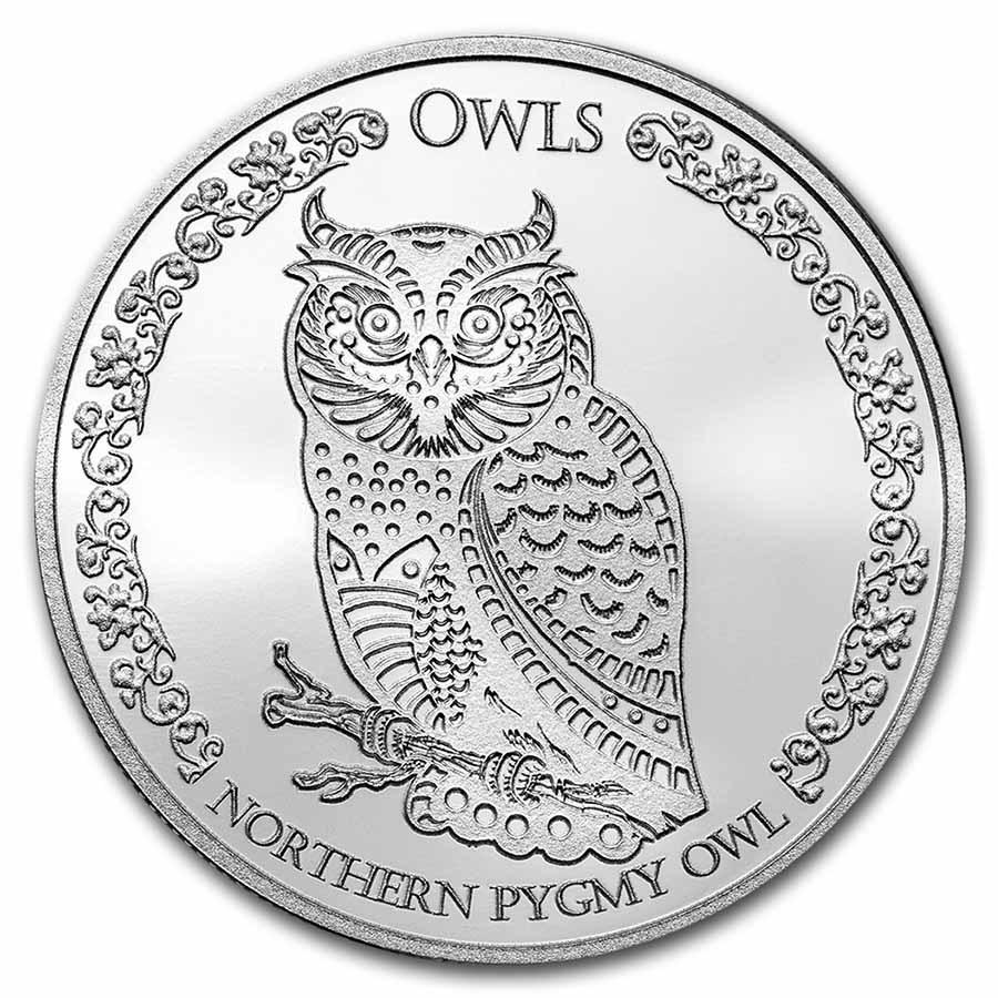 2021 Tokelau 1 oz Silver $5 Owls: Northern Pygmy Owl BU
