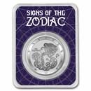 2021 Tokelau 1 oz Silver $5 Zodiac Series: Aquarius BU (TEP)