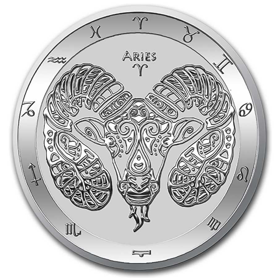 2021 Tokelau 1 oz Silver $5 Zodiac Series: Aries BU