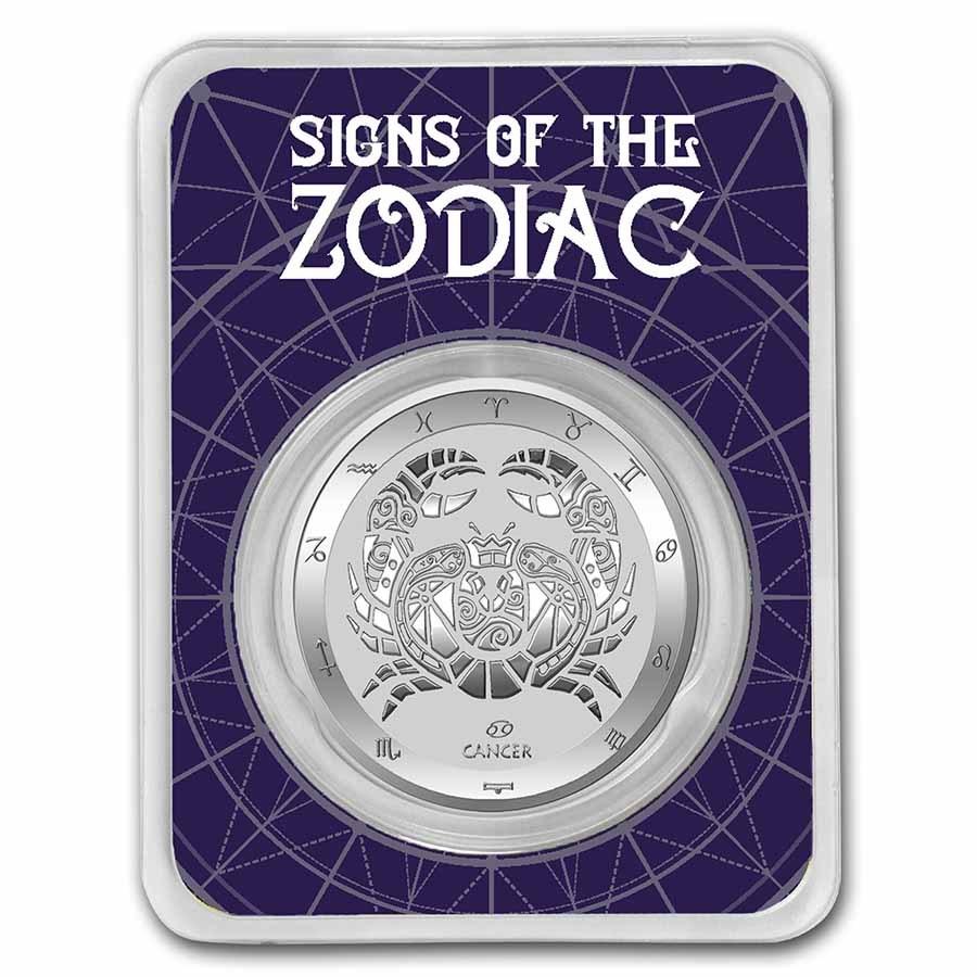 2021 Tokelau 1 oz Silver $5 Zodiac Series: Cancer BU (TEP)