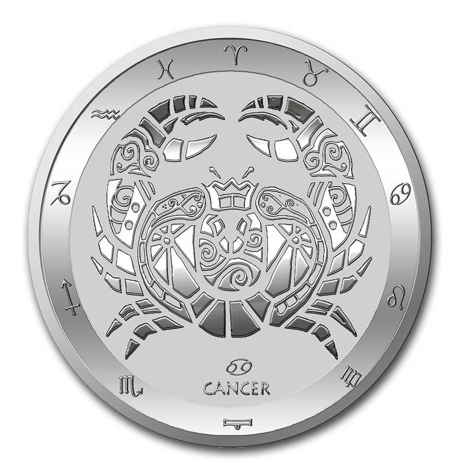 2021 Tokelau 1 oz Silver $5 Zodiac Series: Cancer BU