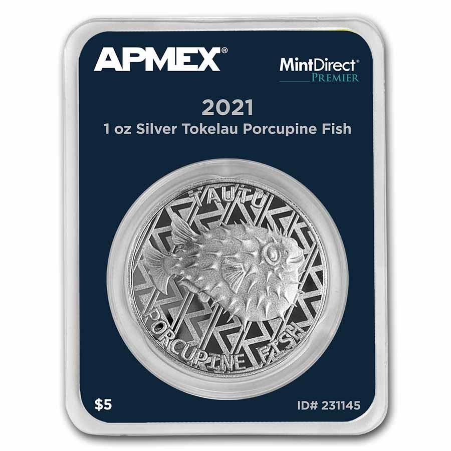 2021 Tokelau 1 oz Silver Porcupine Fish (MD® Premier Single)