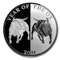 2021 Tokelau 1 oz Silver Proof Year of the Ox Mirror Ox
