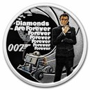 2021 Tuvalu 1/2 oz Silver 007 James Bond Diamonds are Forever