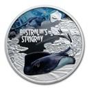 2021 Tuvalu 1 oz Ag Australian Stingray Deadly and Dangerous Prf