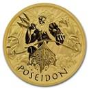 2021 Tuvalu 1 oz Gold Gods of Olympus BU (Poseidon)