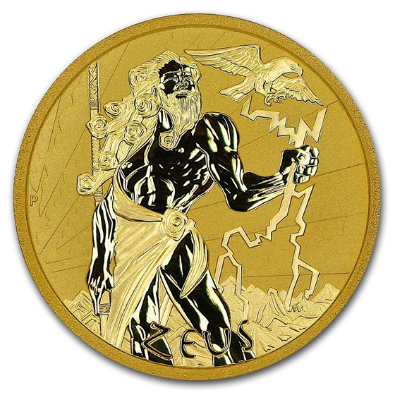 2021 Tuvalu 1 oz Gold Gods of Olympus BU (Zeus)