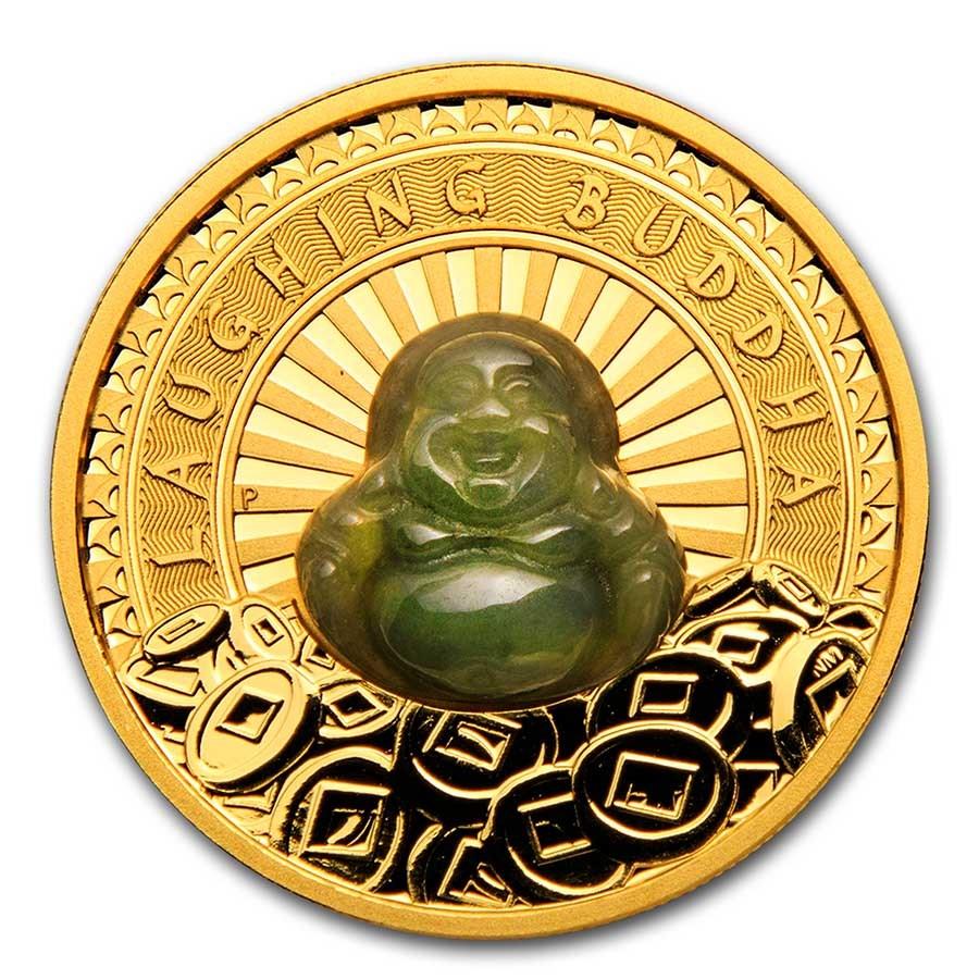 2021 Tuvalu 1 oz Gold Laughing Buddha Jade Proof