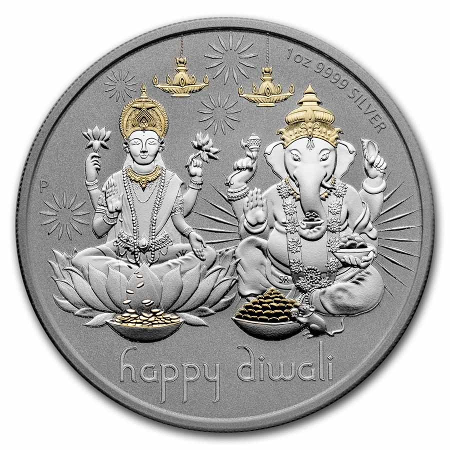 2021 Tuvalu 1 oz Silver $1 Diwali Medallion Proof