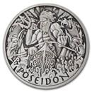 2021 Tuvalu 1 oz Silver Antiqued Gods of Olympus (Poseidon)