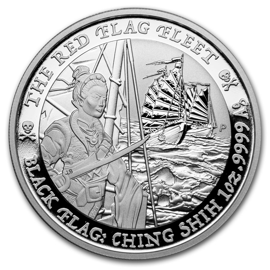 2021 Tuvalu 1 oz Silver Black Flag (The Red Flag Fleet)