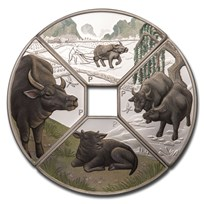 2021 Tuvalu 1 oz Silver Year of the Ox Quadrant Proof