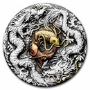 2021 Tuvalu 2 oz Silver Double Dragon Yin Yang Koi (Antiqued)