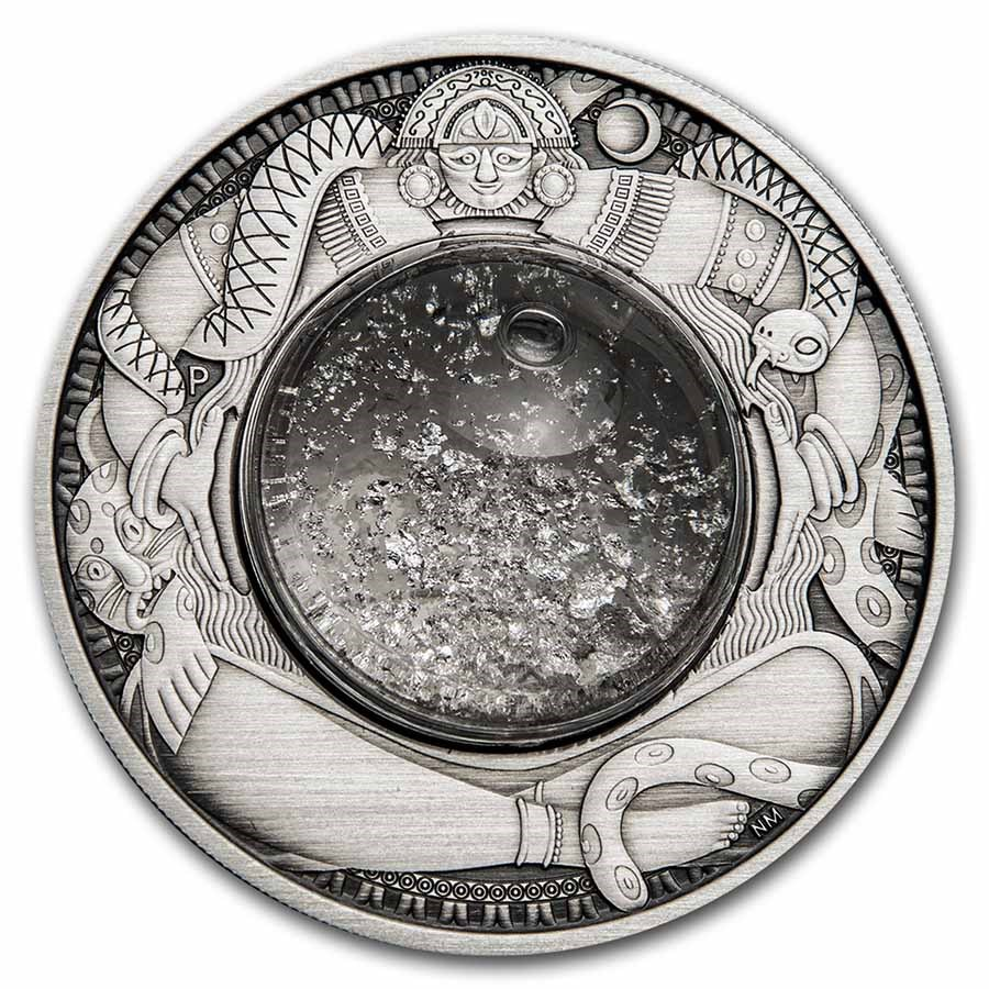 2021 Tuvalu 2 oz Silver Tears of the Moon Antiqued