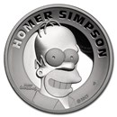2021 Tuvalu 2 oz Silver The Simpsons: Homer Proof High Relief