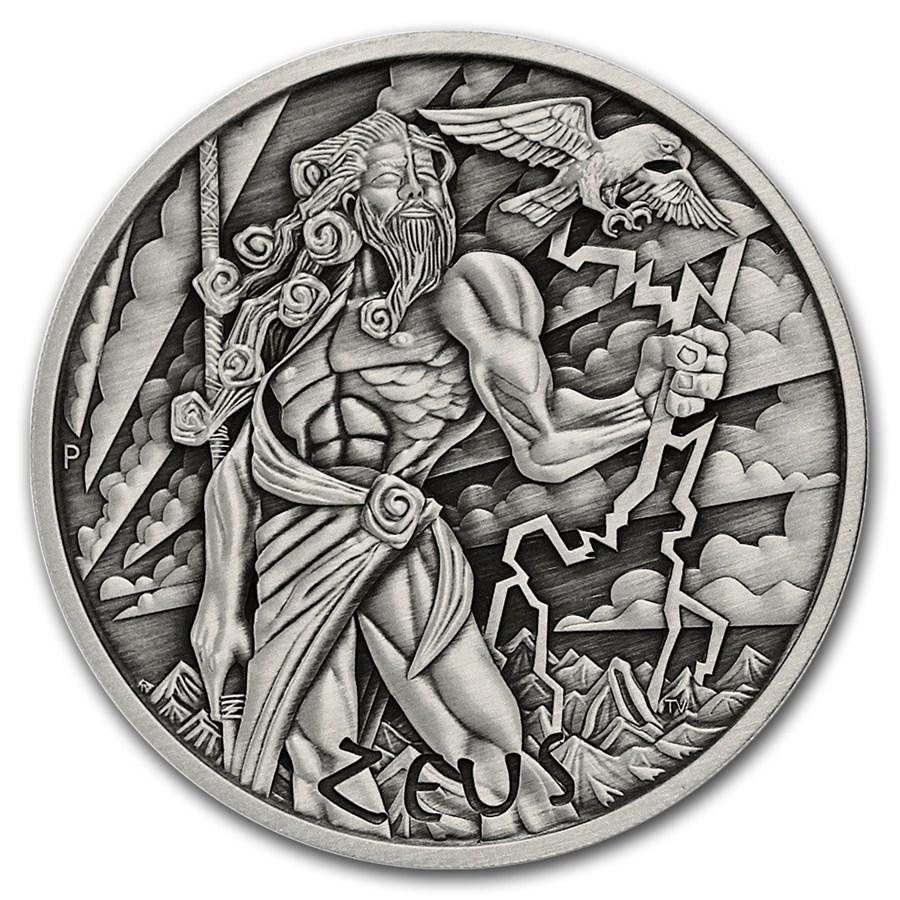 2021 Tuvalu 5 oz Silver Antique Gods of Olympus (Zeus)