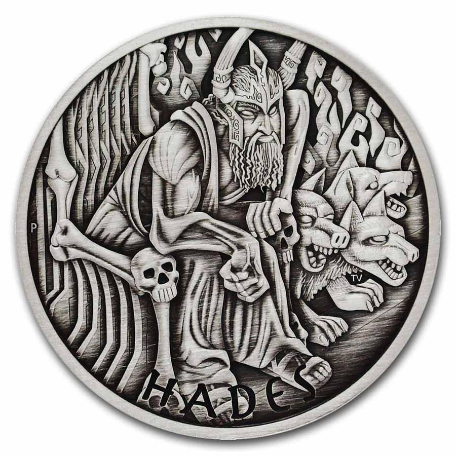 2021 Tuvalu 5 oz Silver Antiqued Gods of Olympus (Hades)