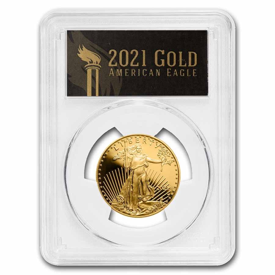 2021-W 1/2 oz Proof Gold Eagle (Type 1) PR-70 PCGS (FDI, Black)