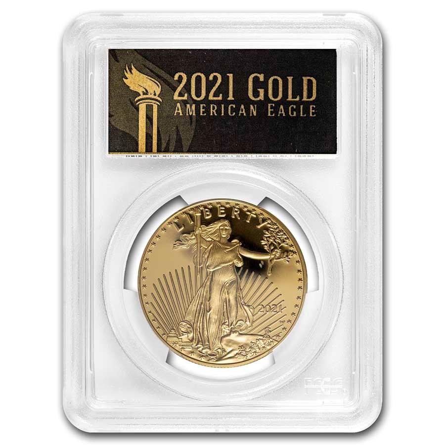 2021-W 1 oz Proof American Gold Eagle PR-70 PCGS (FDI, Black)