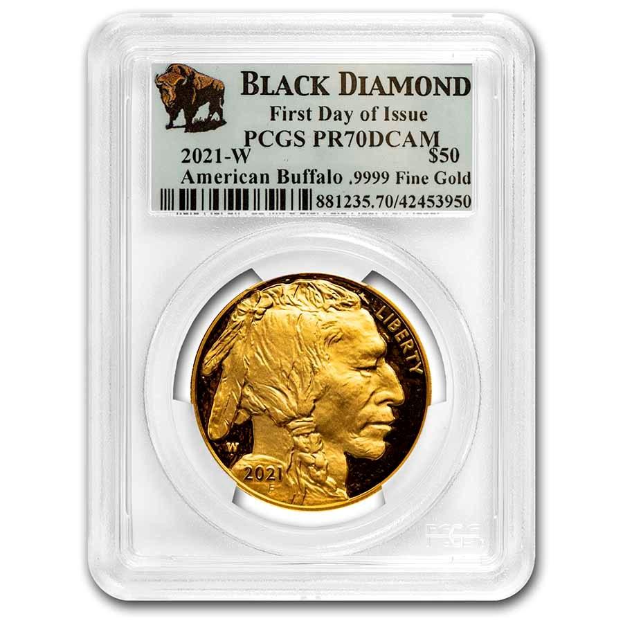 2021-W 1 oz Proof Gold Buffalo PR-70 PCGS (FDI, Black Diamond)