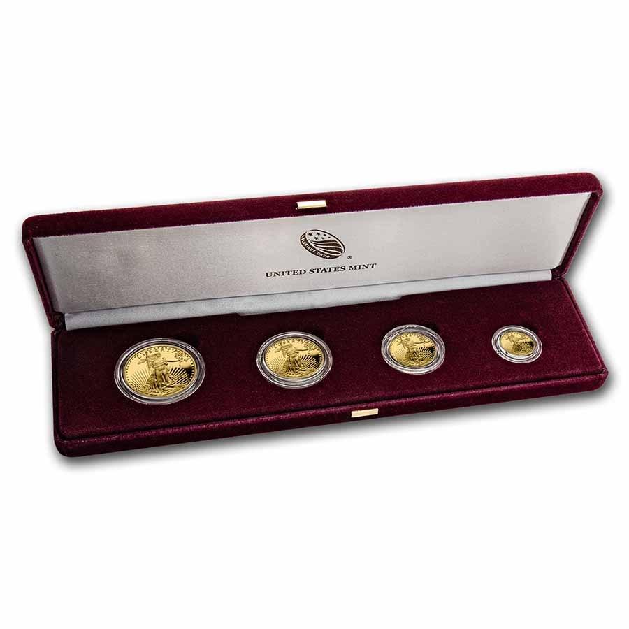 2021-W 4-Coin Proof American Gold Eagle Set (Type 1) (Box & COA)