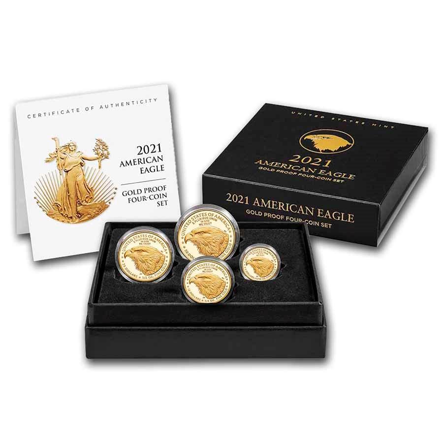2021-W 4-Coin Proof American Gold Eagle Set (Type 2) (Box & COA)