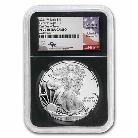 2021-W American Silver Eagle (Type 1) PF-70 NGC (FDI, Mercanti)