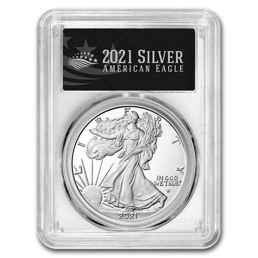 2021-W American Silver Eagle (Type 2) PR-70 PCGS (FDI, Black)