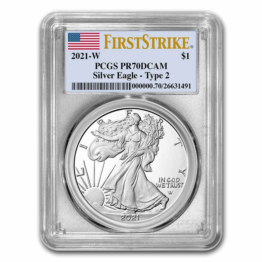 2021-W American Silver Eagle (Type 2) PR-70 PCGS (FirstStrike®)