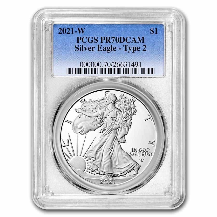 2021-W American Silver Eagle (Type 2) PR-70 PCGS