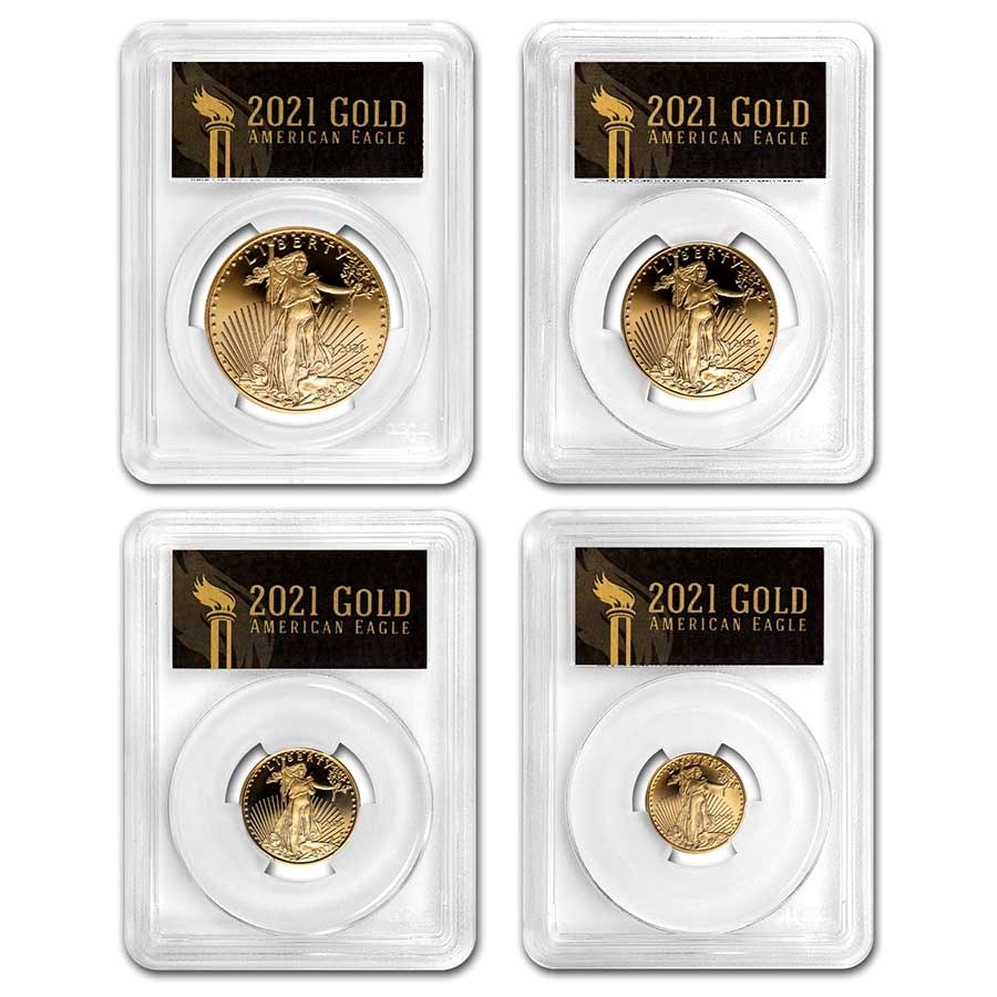2021-W Proof American Gold Eagle Set PR-70 PCGS (FDI, Black)