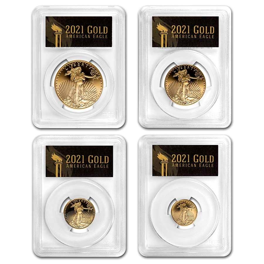 2021-W Proof Gold Eagle Set (Type 1) PR-70 PCGS (FDI, Black)