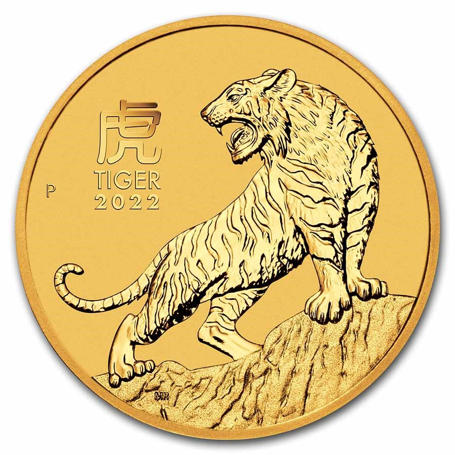 2022 Australia 1/10 oz Gold Lunar Tiger BU (Series III)