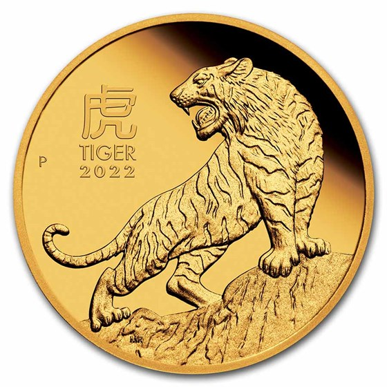 2022 Australia 1/10 oz Gold Lunar Tiger Proof (w/Box & COA)