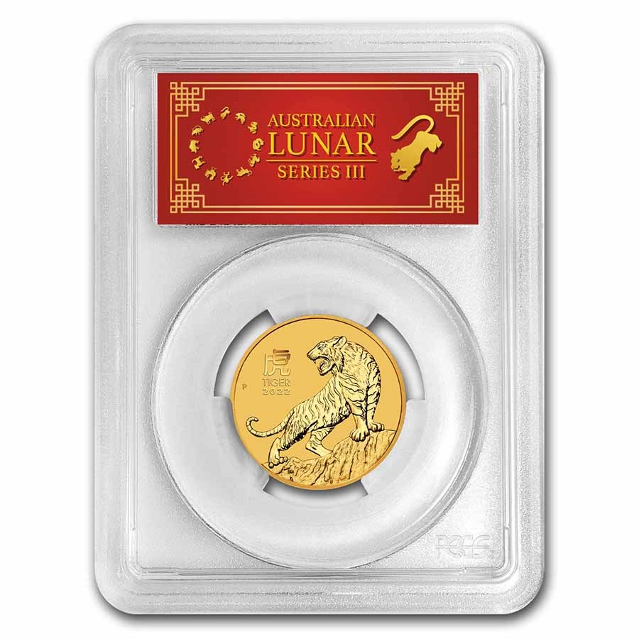 2022 Australia 1/2 oz Gold Lunar Tiger MS-70 PCGS (FS, Red Label)