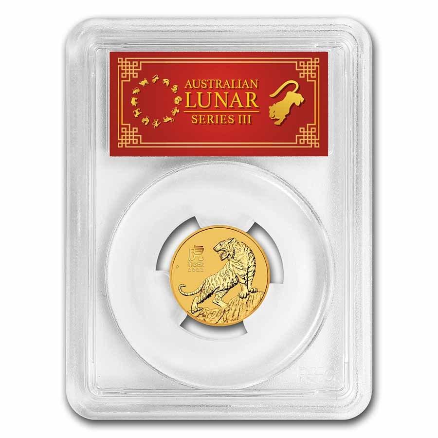 2022 Australia 1/4 oz Gold Lunar Tiger MS-70 PCGS (FS, Red Label)