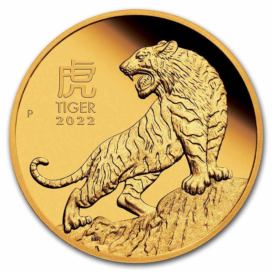 2022 Australia 1/4 oz Gold Lunar Tiger Proof (w/Box & COA)