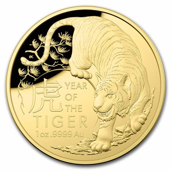 2022 Australia 1 oz Gold $100 Lunar Year of the Tiger Domed Proof