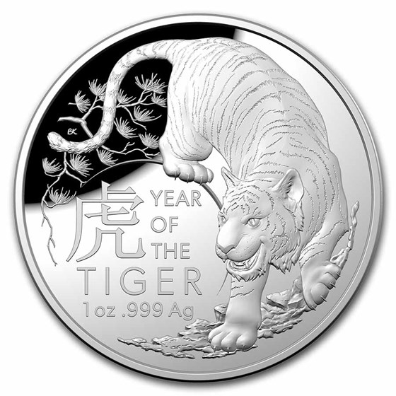 2022 Australia 1 oz Silver $5 Lunar Year of the Tiger Domed Proof